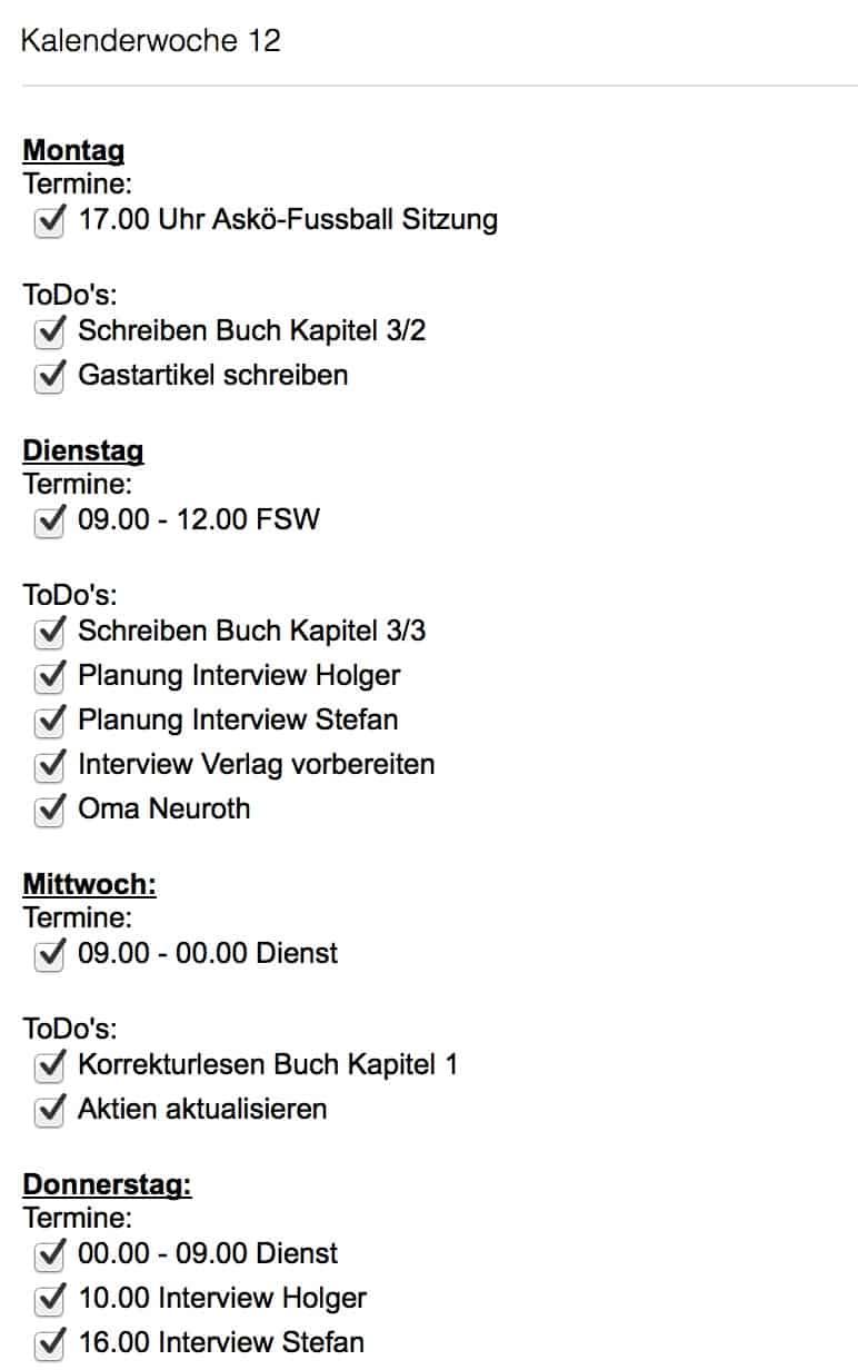 Wochenplanung: So plane ich meine Woche