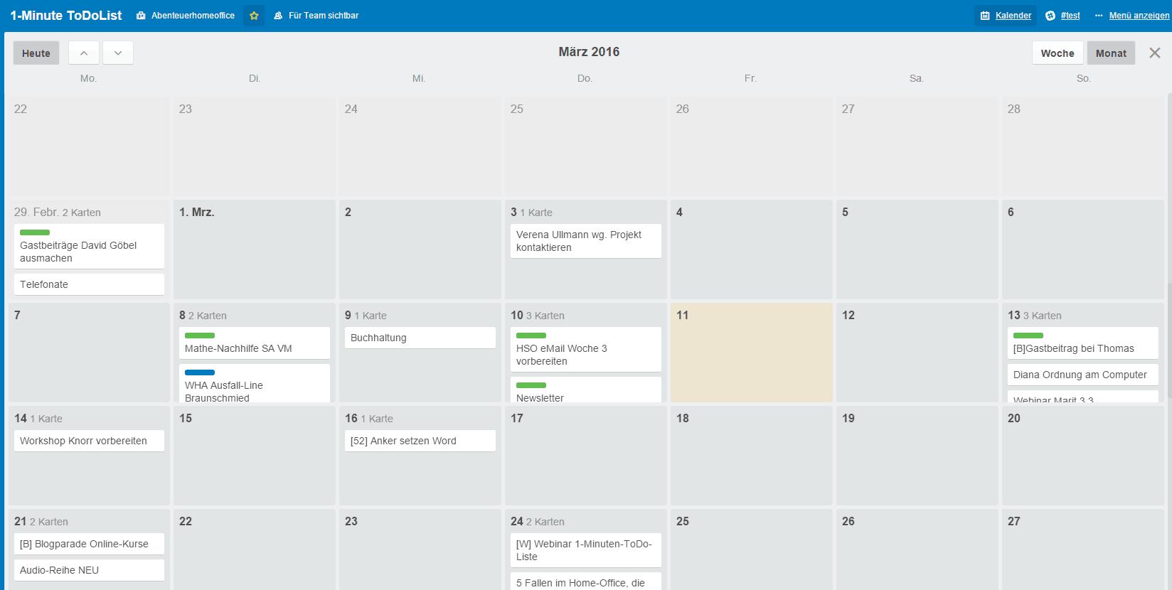 Trello Kalender